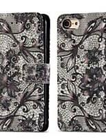 Недорогие -Кейс для Назначение Apple iPhone 8 / iPhone 7 Кошелек / Бумажник для карт / со стендом Чехол Кружева Печать Твердый Кожа PU для iPhone 8 / iPhone 7
