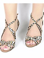cheap -Women's Latin Shoes Silk Heel Performance Stiletto Heel Dance Shoes Leopard