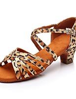 economico -Da ragazza Scarpe per balli latini Seta Tacchi Basso Personalizzabile Scarpe da ballo Leopardo / Al coperto / Da allenamento