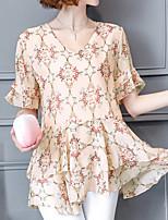 Недорогие -Жен. С принтом Блуза Классический Уличный стиль Цветочный принт
