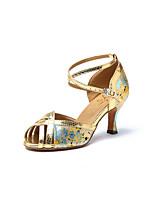 Недорогие -Жен. Обувь для латины Искусственная кожа Кроссовки Цветы из сатина Кубинский каблук Танцевальная обувь Золотой / Тренировочные