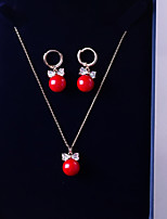 cheap -Women's Cubic Zirconia Jewelry Set - Ball, Bowknot Fashion, Elegant Include Drop Earrings / Pendant Necklace Red For Wedding / Gift