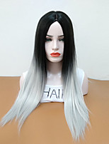 cheap -Synthetic Wig Straight Middle Part Synthetic Hair Heat Resistant / Ombre Hair Gray Wig Women's Long Natural Wigs Capless / Yes