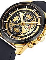 Недорогие -Муж. Кварцевый Спортивные часы Японский Календарь / Секундомер / Защита от влаги / Крупный циферблат / Cool Кожа Группа Роскошь Черный /