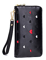 cheap -Women's Bags Genuine Leather Wallet Embroidery / Embossed Red / Blushing Pink / Gray