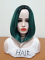 cheap -Synthetic Wig Straight Bob Haircut Middle Part Medium Size Women Green Women's Capless Natural Wigs Mid Length Synthetic Hair Daily