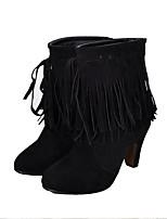 abordables -Femme Chaussures Cuir Nubuck Automne Bottes à la Mode Bottes Talon Bottier Bout pointu Bottine / Demi Botte Gland Noir / Jaune / Marron