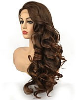 Недорогие -Синтетические кружевные передние парики Кудрявый Средняя часть Искусственные волосы синтетический Темно-коричневый Парик Жен. Длинные