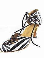 cheap -Women's Modern Shoes Silk Heel Performance / Practice Stiletto Heel Dance Shoes Black-white