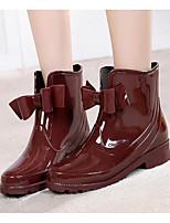 Недорогие -Жен. Обувь Кожа ПВХ  Осень Резиновые сапоги Ботинки На толстом каблуке Черный / Бежевый / Вино