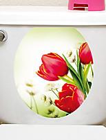 abordables -Autocollants muraux décoratifs Autocollants toilettes - Autocollants avion 3D A fleurs / Botanique Salle de séjour Chambre à coucher