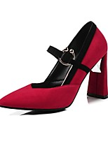 cheap -Women's Shoes Fleece Spring & Summer Comfort Heels Chunky Heel Pointed Toe Yellow / Red / Camel / Party & Evening