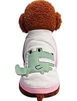 baratos -Cachorros Gatos Animais de Estimação Camiseta Roupas para Cães Estampa Colorida Personagem Animal Verde Rosa claro Algodão / Poliéster
