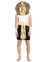 cheap -Egyptian Costume Outfits Men's Halloween / Carnival / Day of the Dead Festival / Holiday Halloween Costumes Black Solid Colored / Striped
