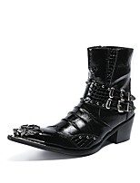 cheap -Men's Shoes Leather / Cowhide Winter Novelty / Fashion Boots Boots Black / Red
