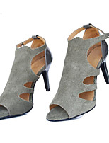 cheap -Women's Latin Shoes Nubuck leather Heel Performance / Practice Stiletto Heel Dance Shoes Gray