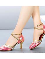 cheap -Women's Modern Shoes Cowhide Heel Performance / Practice Stiletto Heel Dance Shoes Gold / Silver / Fuchsia