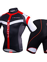 cheap -Men's Short Sleeve Cycling Jersey with Shorts - Black / Red / Blue / White Bike Clothing Suits, 3D Pad Polyester / Spandex