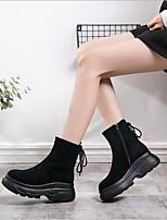 baratos -Mulheres Sapatos Cashmere Inverno Conforto Botas Plataforma para Casual Preto