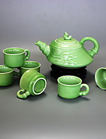 cheap -7 pcs porcelain teapot set heatproof ,  18*15*10;6*6*4cm