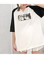 cheap -women's cotton loose t-shirt - color block v neck