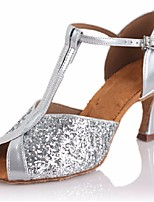 cheap -Women's Latin Shoes Paillette Heel Performance Practice Stiletto Heel Silver 3 - 3 3/4inch