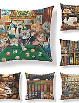 cheap -6 pcs Textile / Cotton / Linen Pillow case, Art Deco / Animal / Printing Square Shaped / Cartoon