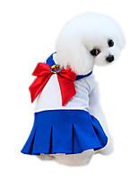 abordables -Animaux de Compagnie Robe Vêtements pour Chien Couleur Pleine / Mosaïque / Fleur Bleu / Rose Coton / Polyester Costume Pour les animaux