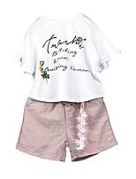 cheap -Kids Girls' Floral Short Sleeves Clothing Set