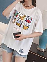 cheap -Women's Cotton T-shirt - Solid Colored / Letter / Animal