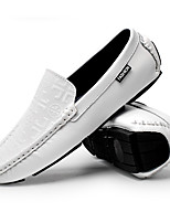 cheap -Men's Shoes Leather Fall Moccasin Comfort Loafers & Slip-Ons White Black Khaki
