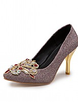 cheap -Women's Shoes Leatherette Fall Comfort / Novelty Heels Stiletto Heel Pointed Toe Rhinestone Gold / Purple / Red / Party & Evening