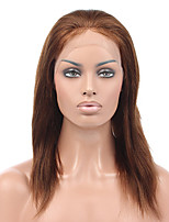 cheap -Remy Human Hair Wig Brazilian Hair Straight 130% Density With Baby Hair Soft Silky With Bleached Knots Natural Hairline Natural Short
