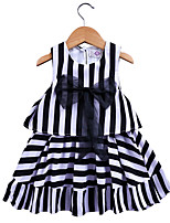 cheap -Kids / Toddler Girls' Black & White Striped Sleeveless Dress