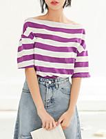 cheap -Women's Holiday Basic Cotton T-shirt - Striped Print Boat Neck / Summer