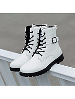 cheap -Men's Shoes PU Winter Comfort / Combat Boots Boots Mid-Calf Boots White / Black