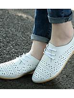 abordables -Femme Chaussures Cuir Printemps Confort Oxfords Talon Bas pour Décontracté Blanc Orange Jaune