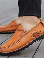 cheap -Men's Shoes Cowhide Spring Comfort Loafers & Slip-Ons Light Brown / Dark Brown / Khaki