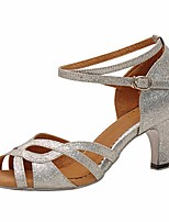 cheap -Women's Latin Shoes Paillette Heel Chunky Heel Dance Shoes Silver / Performance / Leather / Practice