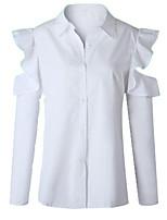 Недорогие -Жен. Оборки / Пэчворк Рубашка Классический Однотонный