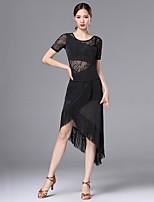 abordables -Danse latine Robes Femme Utilisation Nylon Dentelle Etagée Combinaison Gland Manches Courtes Taille haute Robe