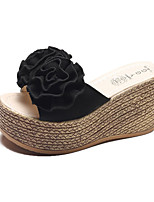 cheap -Women's Shoes Nubuck leather Summer Comfort Slippers & Flip-Flops Wedge Heel Round Toe Satin Flower for Black Beige Green