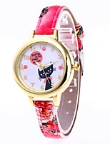 cheap -Women's Wrist Watch Chinese Casual Watch / Lovely PU Band Cartoon / Fashion Black / White / Red