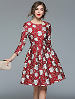 cheap -SHIHUATANG Women's Vintage / Sophisticated A Line Dress - Floral