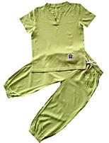 Недорогие -Дети Мальчики Однотонный С короткими рукавами Набор одежды