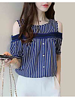 cheap -Women's Going out Blouse - Striped Round Neck / Off Shoulder