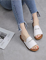 preiswerte -Damen Schuhe Leder Sommer Komfort Slippers & Flip-Flops Flacher Absatz für Normal Weiß Schwarz