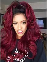 cheap -Remy Human Hair Lace Front Wig Wig Peruvian Hair / Body Wave Wavy 130% Density 100% Virgin Women's Long Human Hair Lace Wig