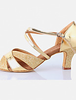 cheap -Women's Latin Shoes Leatherette Sandal Outdoor / Professional Low Heel Customizable Dance Shoes Gold / Silver