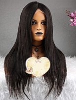 cheap -Remy Human Hair Wig Brazilian Hair Straight Layered Haircut 130% Density With Baby Hair Natural Short / Long / Mid Length Women's Human